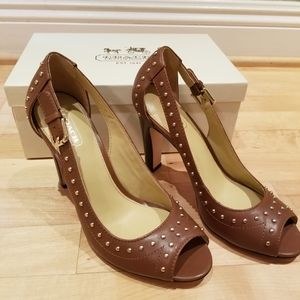 Coach Leather heels with gold buckle size 7.5